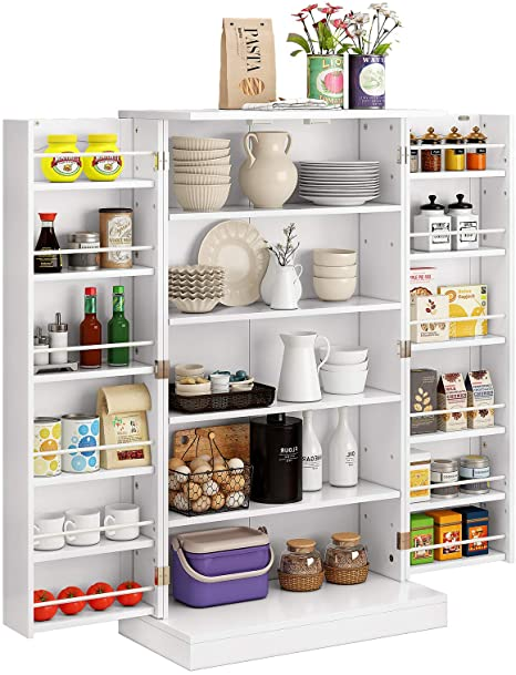 Amazon Com Function Home 41 Kitchen Pantry Farmhouse Pantry Cabinet Storage Cabinet With Doors And Adjustable Shelves White Kitchen Dining