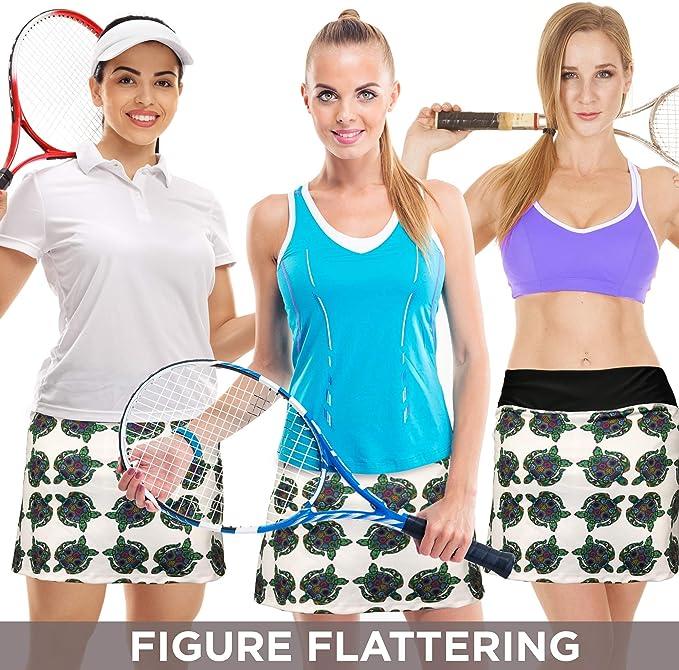 XrSzChic Womens Tennis Golf Athletic Exercise Printed Skirt Skorts Short Pockets