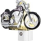 GE LED Motorcycle Night Light, Plug-in, Dusk-to-Dawn Sensor, Auto On/Off, Energy-Efficient, Soft White, Flames & Chrome Desig