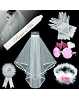 Foonii 6PCS Bride To Be Decoration Kit, Bride To Be Bridal Veil with Comb , Satin Sash, Glasses, White Gloves, Bridal Badge Brooch and Garter, For Bachelorette Party Decorations Supplies