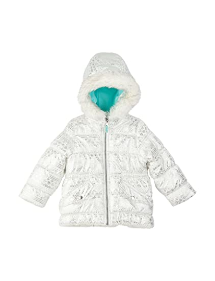 1279974c023 Amazon.com: Carter's Baby/Toddler Girl's White Foil Print Puffer ...