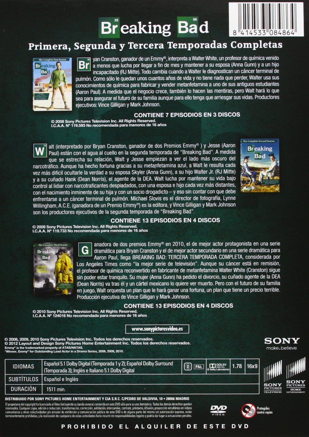 Breaking Bad - Temporada 1 + 2 + 3 [DVD]: Amazon.es: Bryan Cranston, Anna Gunn, Aaron Paul, Dean Norris, Betsy Brandt, Bob Odenkirk, Vince Gilligan, Bryan Cranston, Anna Gunn: Cine y Series TV