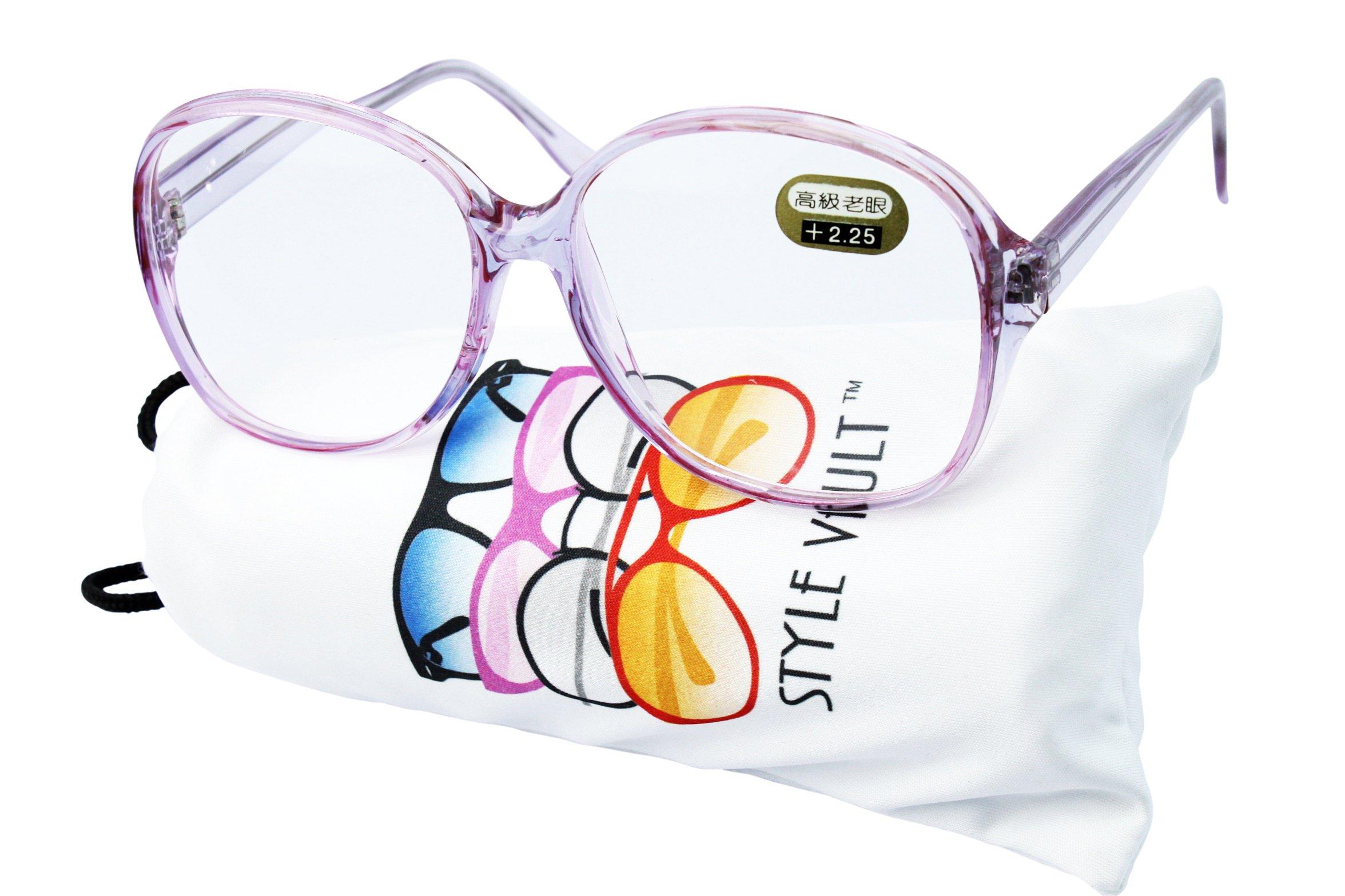E3035-vp Style Vault Oversized Reading Eyeglasses (B1867F +2.25 Crystal purple)