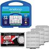 Panasonic eneloop Power Pack Set with 8 AA, 2 AAA Rechargeable Batteries, Charger & Case with (3) AA/AAA Battery Cases + Microfiber Cleaning Cloth