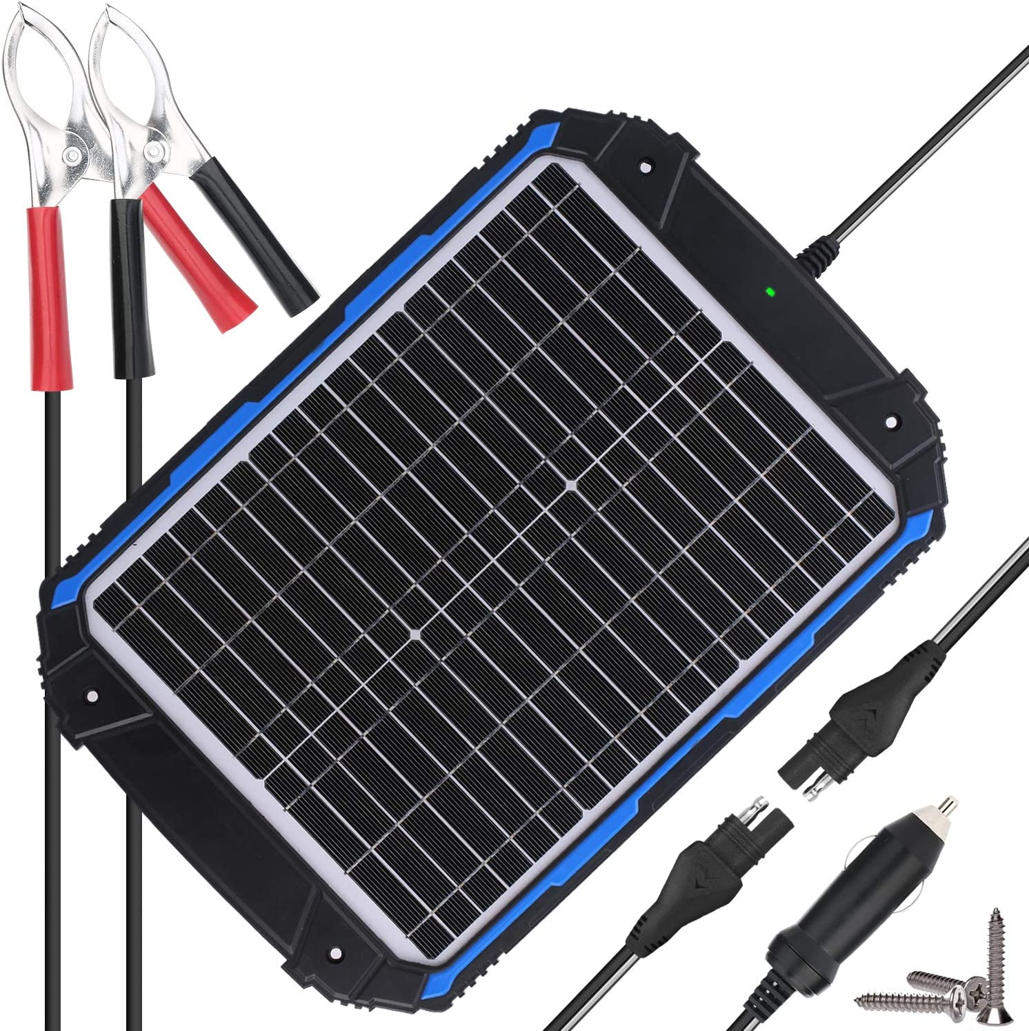 SUNER POWER Waterproof 12V Solar Battery Charger & Maintainer Pro Built in Intelligent MPPT Charge Controller 20W Solar Panel Trickle Charging Kit