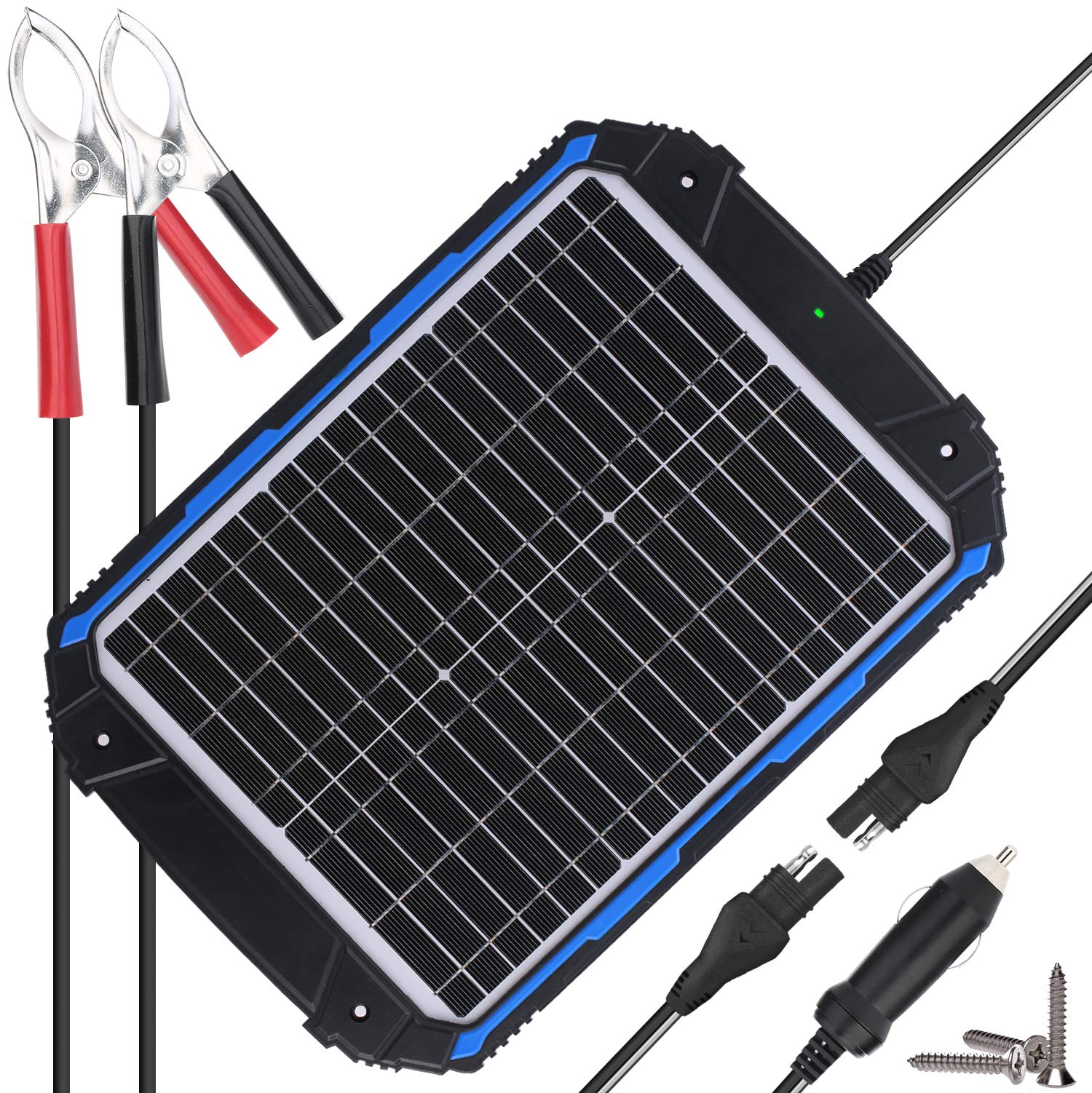 SUNER POWER Upgraded 12V Waterproof Solar Battery Charger & Maintainer Pro - Built-in Intelligent MPPT Charge Controller - 20W Solar Panel Trickle Charging Kit for Car, Marine, Motorcycle, RV, etc by SUNER POWER