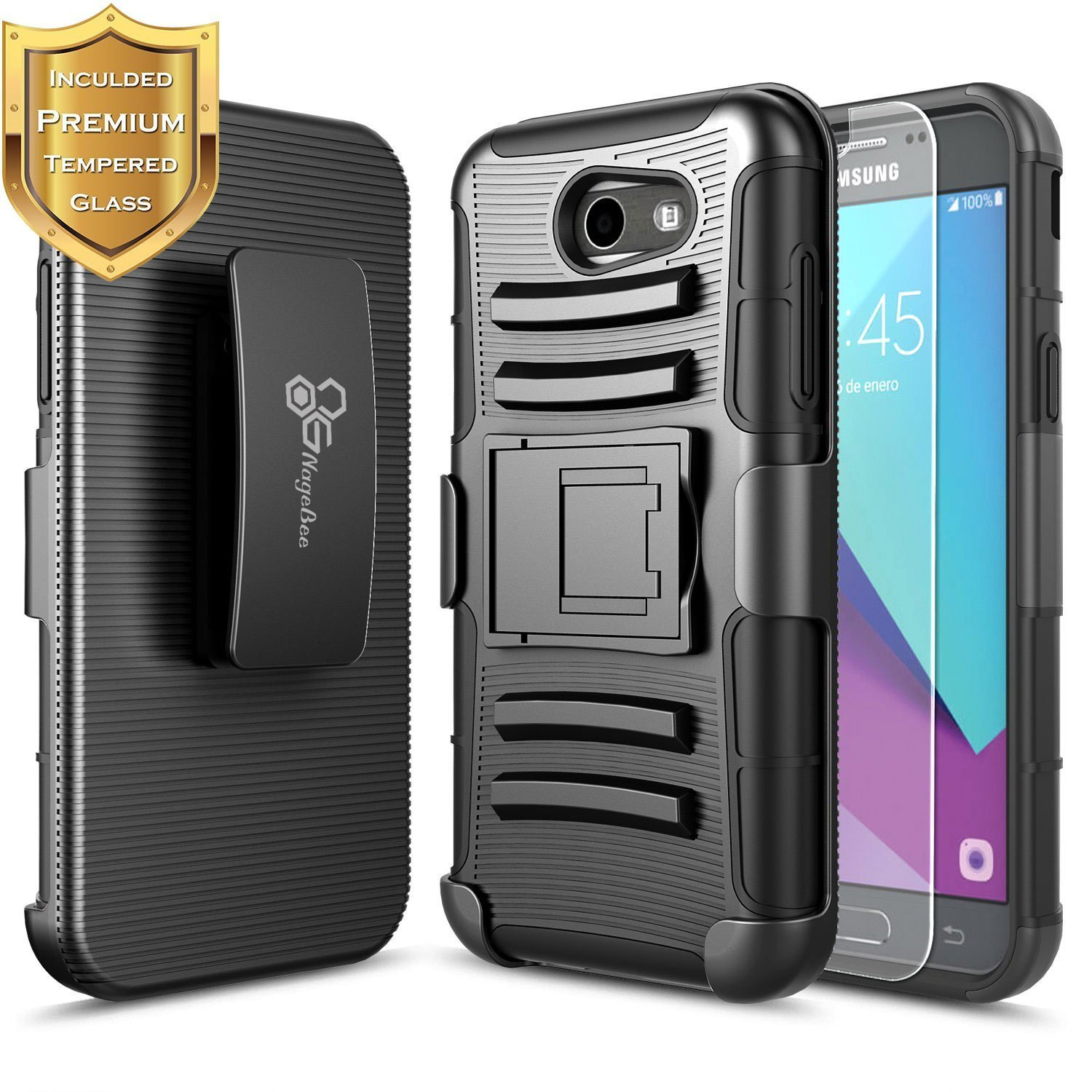 Amazon Galaxy J3 Luna Pro Case Galaxy J3 Eclipse Case Galaxy J3 Mission Case with [Tempered Glass Screen Protector] NageBee [Heavy Duty] [Belt Clip]