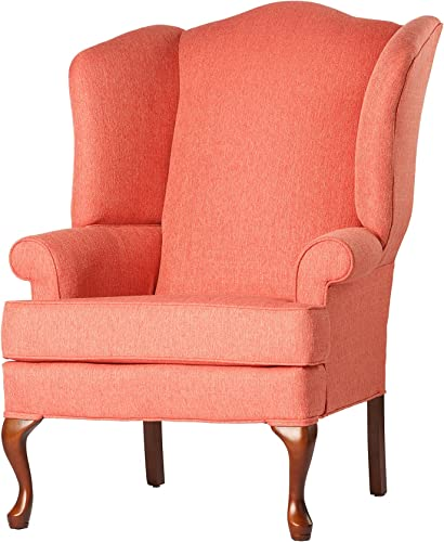 Source One Kinnara Wing Back Upholstered Chair, Coral