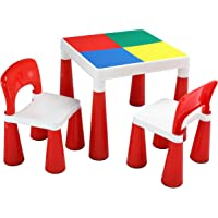 Liberty House Toys 2-in-1 Activity Table and 2 Chairs, Plastic, Red/White