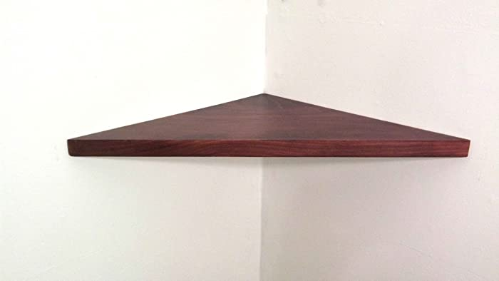 amazon com 22 wide solid wood floating corner wall shelf with rh amazon com Wooden Wall Shelves and Ledges Amazon Shelves