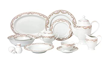 Lorren Home Trends 57 Piece \u0027Beauty\u0027 Bone China Dinnerware Set (Service for 8  sc 1 st  Amazon.com & Amazon.com | Lorren Home Trends 57 Piece \u0027Beauty\u0027 Bone China ...