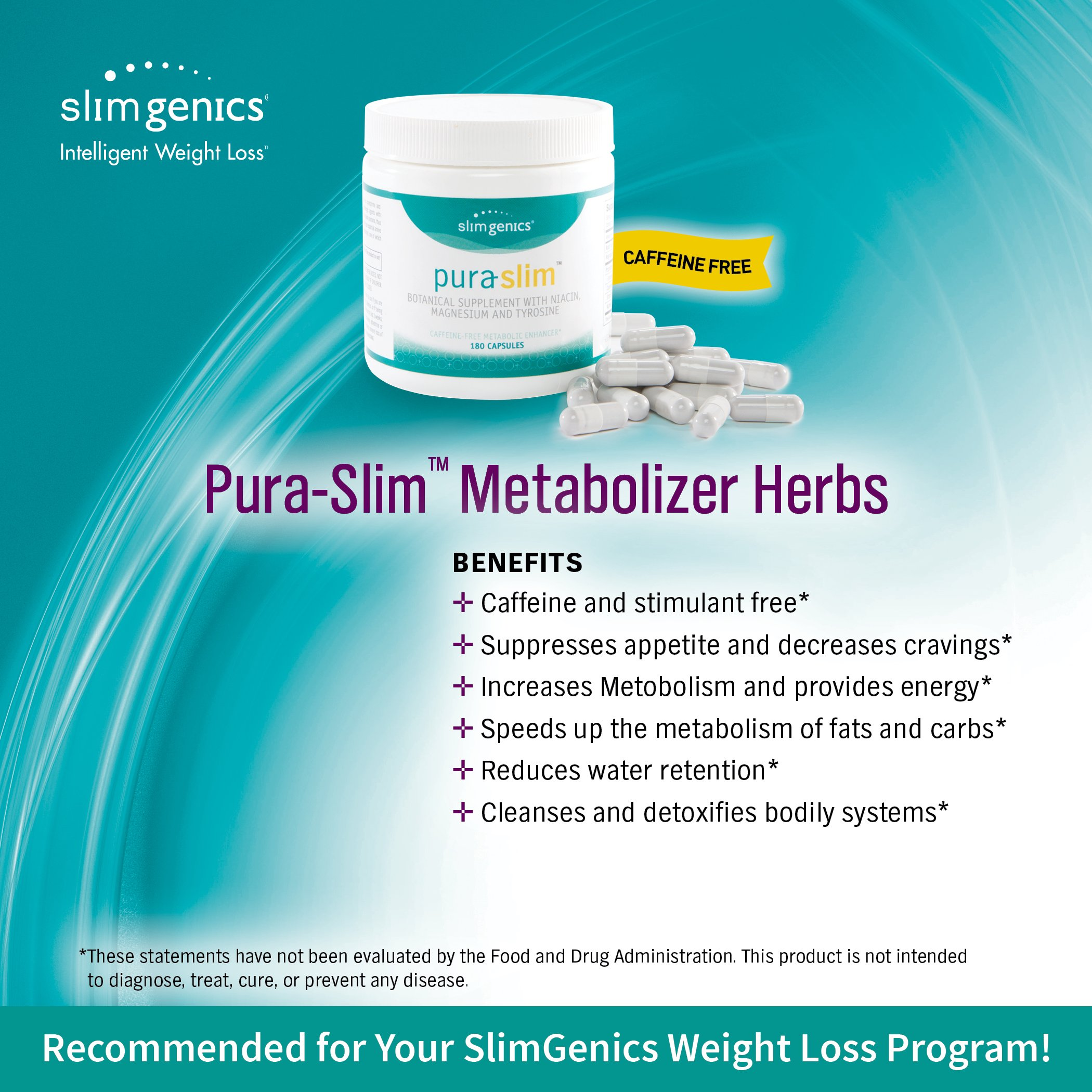 SlimGenics Pura-Slim | Metabolizer Herb – Metabolic Booster with Powerful Herbs and Nutrients, Thermogenic Fat Burners for Weight Loss, Fights Fatigue and Increases Energy (180 Count) by SlimGenics (Image #5)