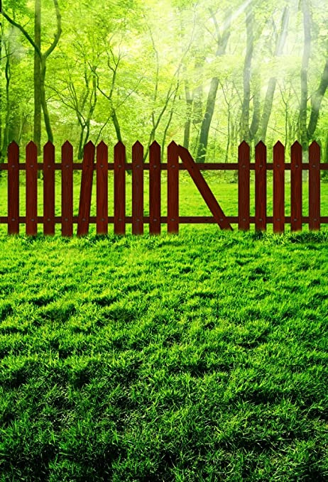 AOFOTO 6x8ft Garden Green Meadow Photography Backdrop Park Lawn Fence Background Nature Scenic Outdoor Grass Forest