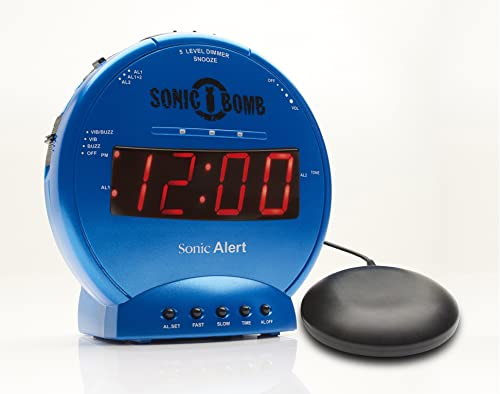 Sonic Bomb Dual Alarm Clock with Bed Shaker, Turquiose Sonic Alert Vibrating Alarm Clock Heavy Sleepers, Battery Backup Wake with a Shake