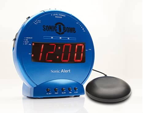 Sonic Bomb Loud Dual Alarm Clock with Vibrating Bed Shaker Blue - SBB500SSB