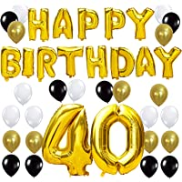 KUNGYO Letras Tipo Balón Doradas Happy Birthday+Número 40