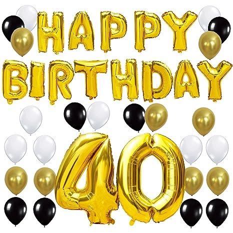 KUNGYO Happy Birthday Lettere Alfabeto Balloon+Numero 40 Mylar