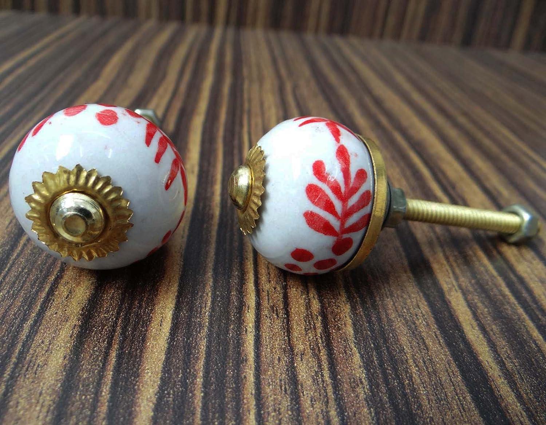 2 Stück Küchenmöbelknöpfe Keramik Türgriffe Griffe weiße runde Form ...
