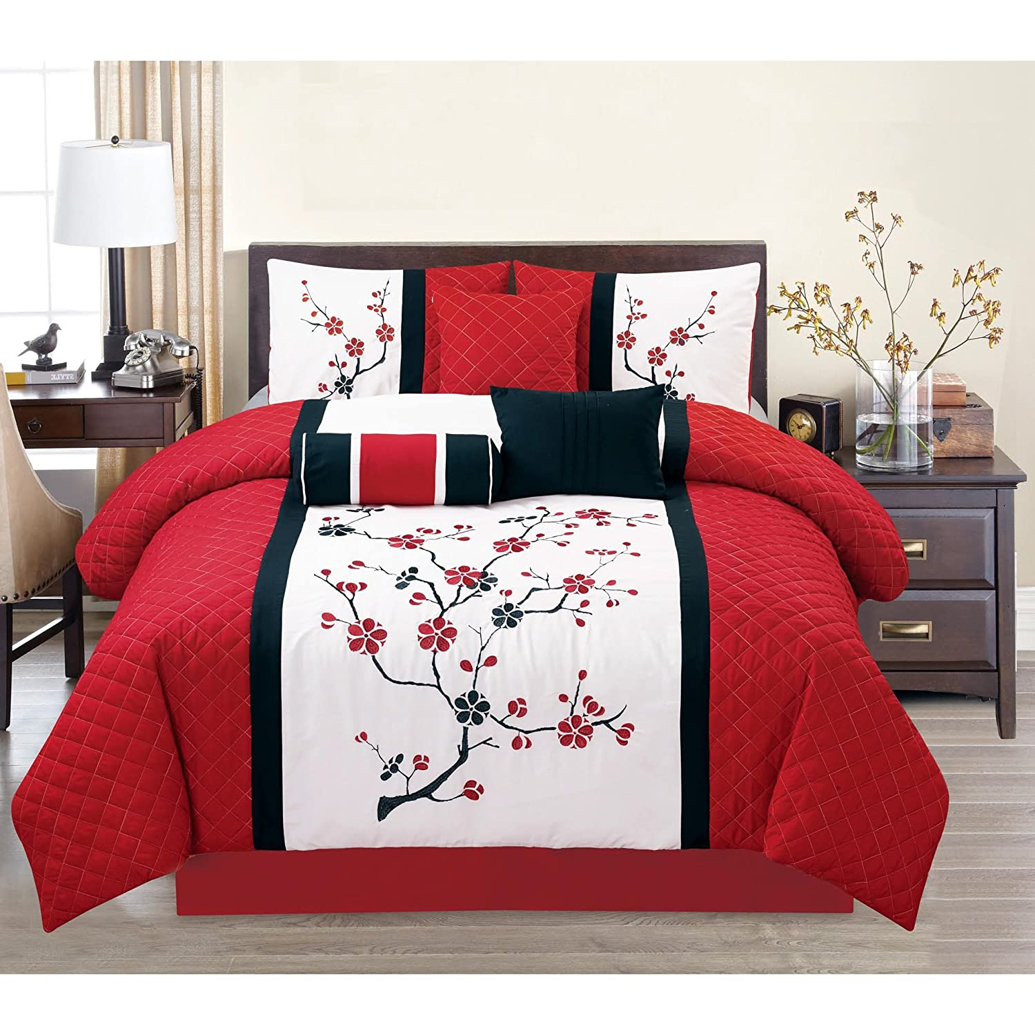 7 Piece Embroidered Floral Patterned Comforter Set `King Size, Featuring  Precious Dainty Asian Cherry Blossoms Themed Bedding, Nature lover Design,  ...