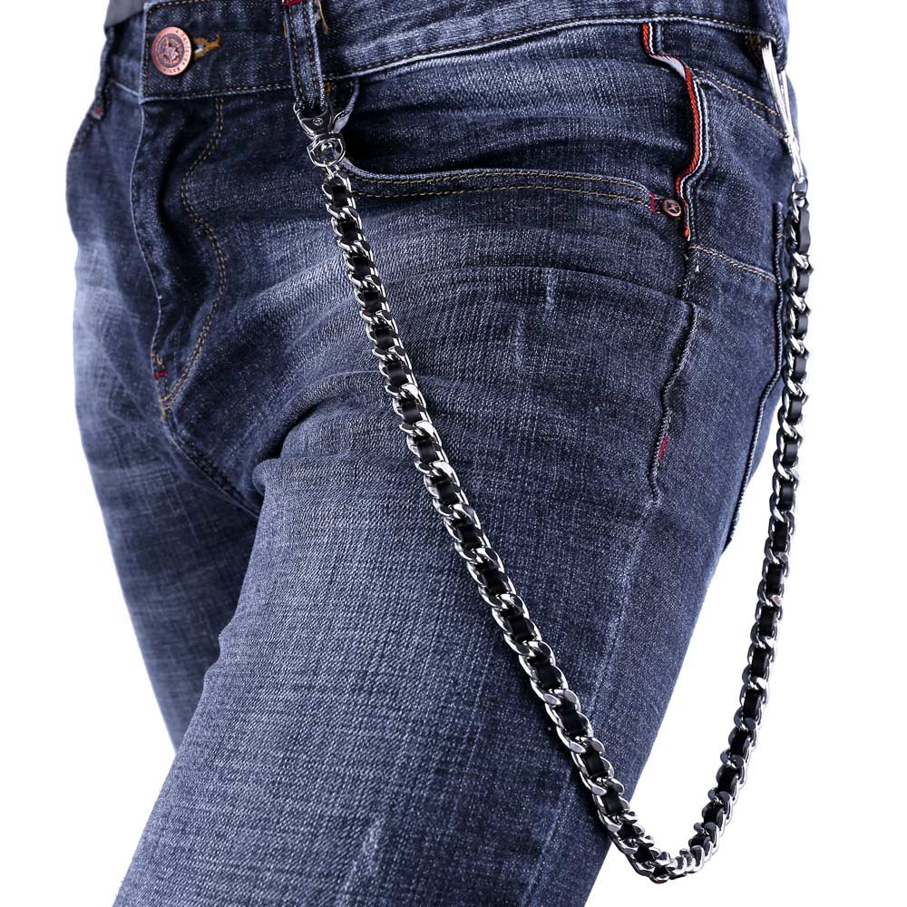 U7 Men Pants Chain Punk Leather Braided in Platinum Plated Cuban Chain Trousers Jeans Chain Key Chain Accessories