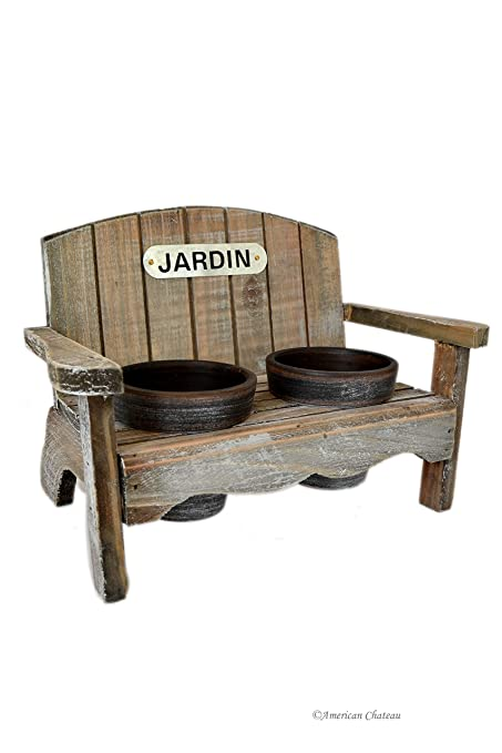 Distressed Vintage-Style French Jardin 2-Planter Flower Pots with Bench Holder