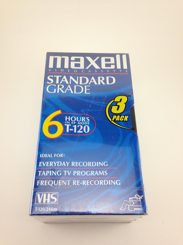6 Pack Maxell STD T-120 VHS Standard Grade Videotape