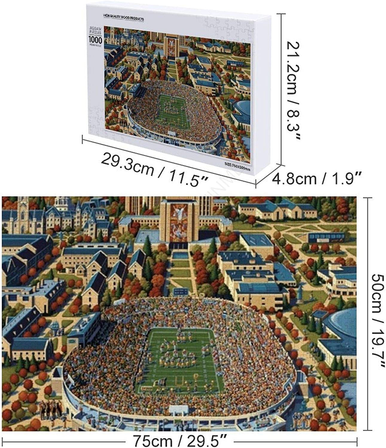 1000 Pieces Wooden Jigsaw Puzzle For Family Game Notre Dame Football Puzzle For Adults Teens /& Children Decompressing Fun Game