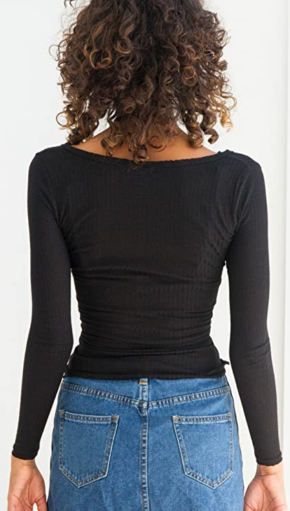 Mujer Camisetas Manga Larga Negras Basicas T Shirt Elegantes Invierno Otoño Cortas Tops Camisas V Cuello Escotadas Con Correas Cruzado Moda Slim Fit T Shirt ...