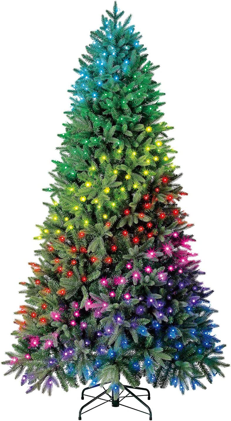 Amazon Com Evergreen Classics 7 5 Ft Twinkly Pre Lit Aspen Pine Quick Set Artificial Christmas Tree App Controlled Multicolor Rgb Lights Home Kitchen
