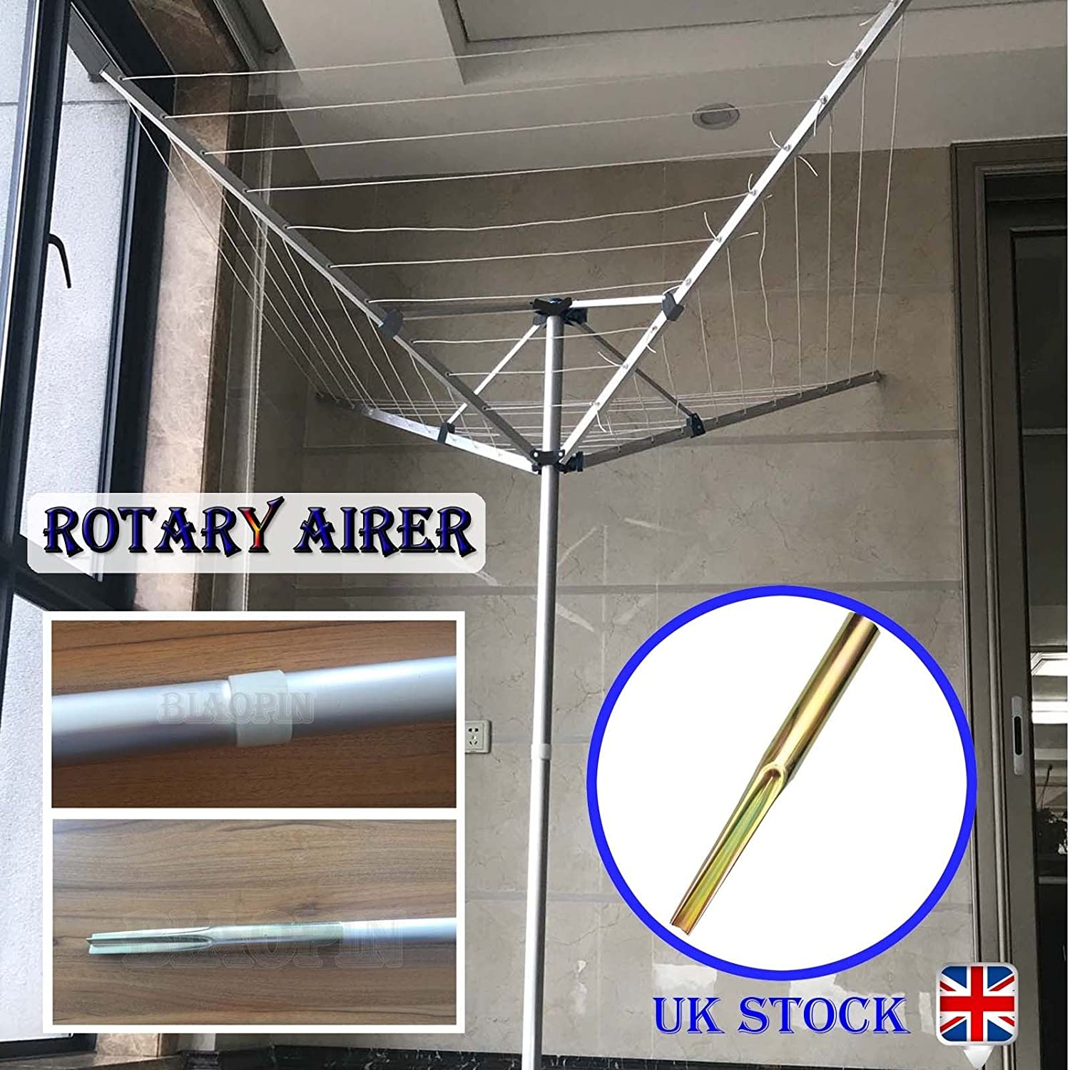 1.75M Tall Rotary Airer Clothes 4 Arm 40m Washing Line with Ground Spike for Outdoor Garden Camping Cloth Drying