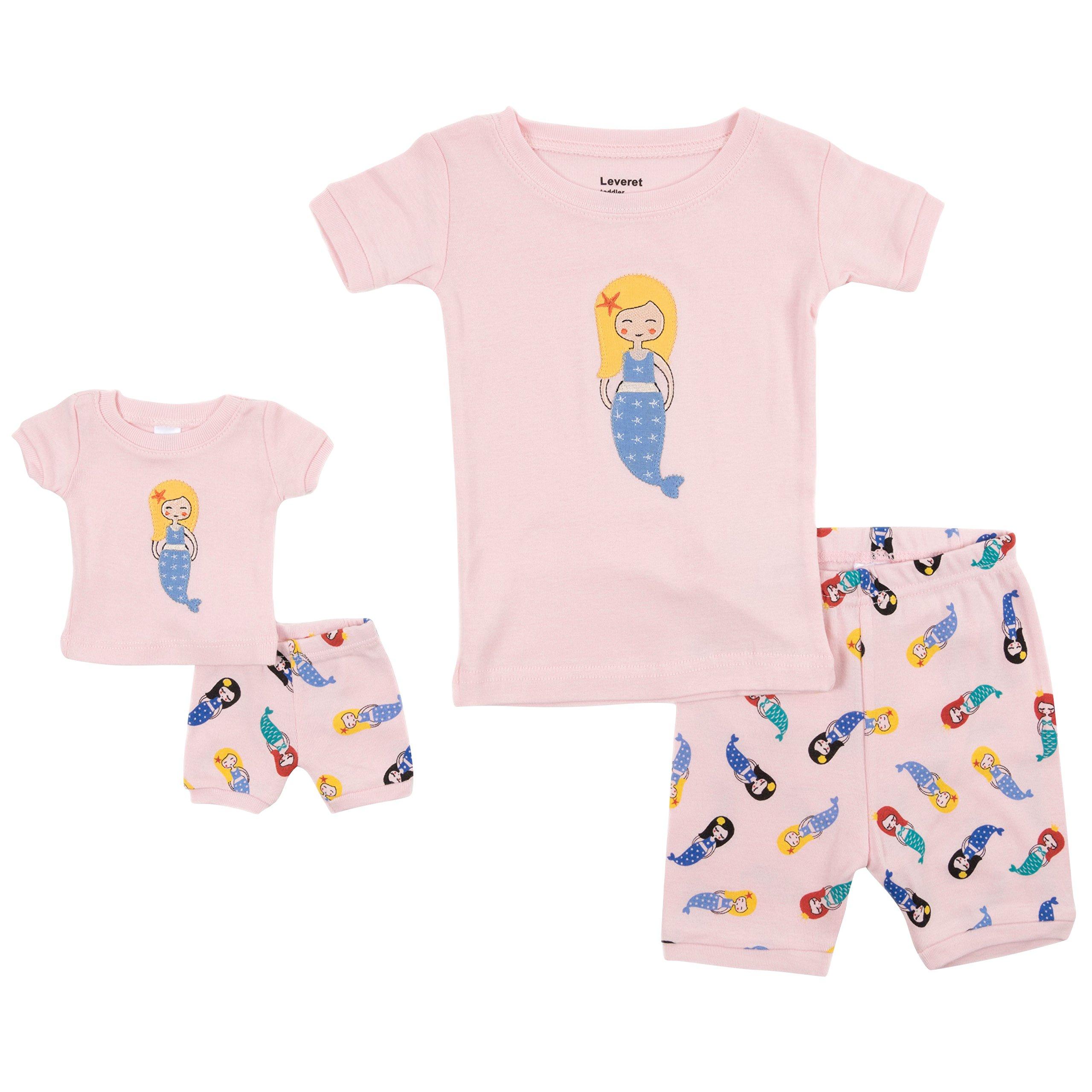 Leveret Shorts Matching Doll & Girl Mermaid 2 Piece Pajama Set 100% Cotton Size 8 Years