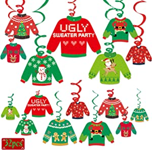 Ugly Christmas Sweater Party Hanging Swirl Decorations 32 Ct Tacky Christmas Sweater Hanging Ceiling Spirals Decor for Christmas Party Decorations Wintertime Holiday Gathering Office Xmas Party