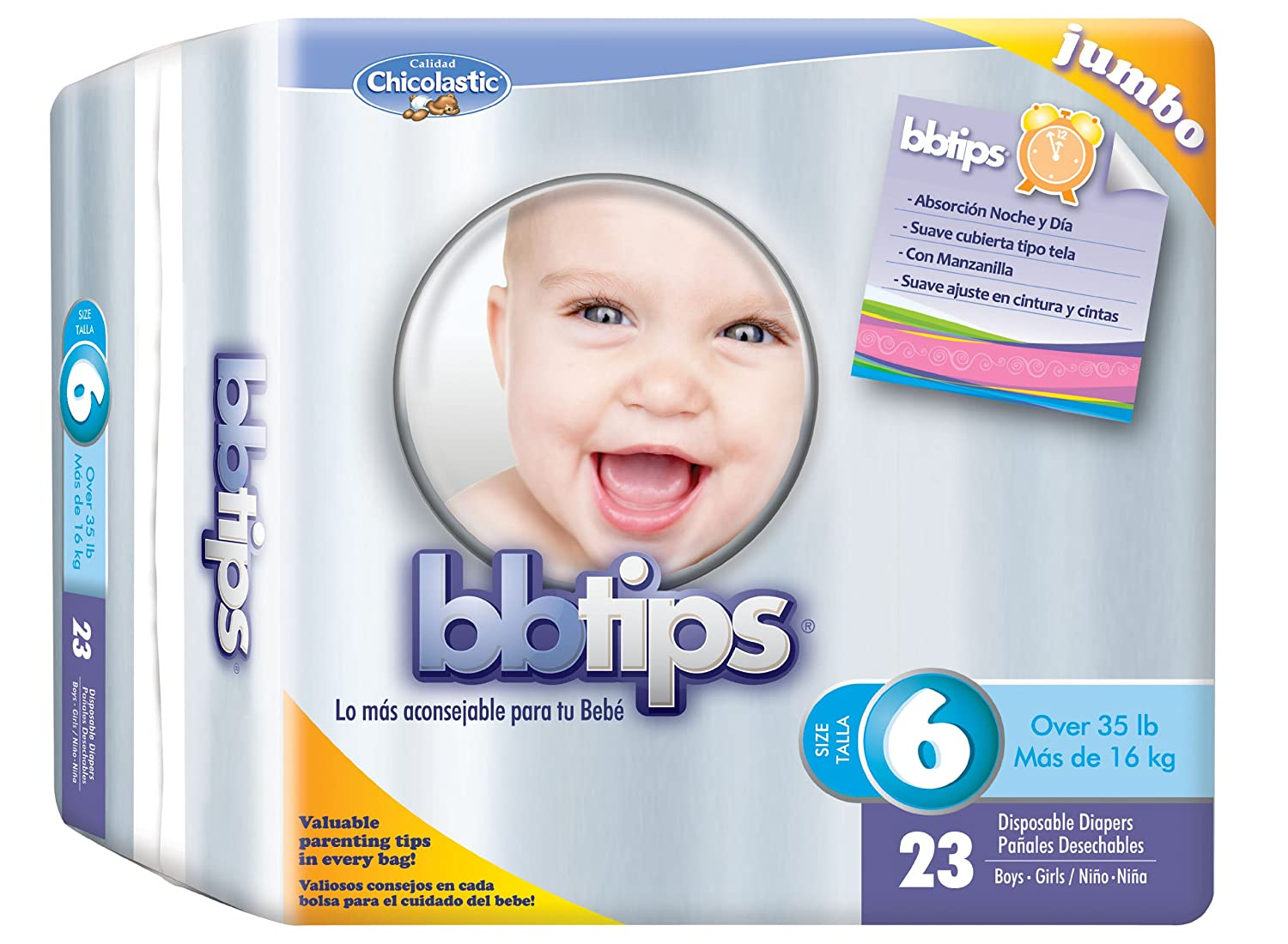 Amazon.com: Chicolastic Bbtips Infant Disposable Ultra Diapers, XX-Large, Size 6, 92 Count: Health & Personal Care