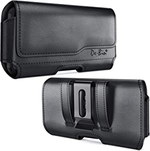 DeBin iPhone 11 Pro / iPhone 10 / X / Xs Belt Holster, Premium Leather Holster Pouch Case with Belt Clip Belt Holder Cover for Apple iPhone 11 Pro / 10 / X / Xs (Fits Phone w/ Otterbox Case on) Black