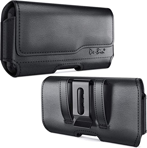 De-Bin Belt Holster Case Designed for iPhone 12 Pro Max/11 Pro /Xs Max /8 Plus /7 Plus /6s Plus, Belt Case with Belt Clip Cell Phone Belt Holder Pouch Compatible with iPhone Otterbox/Battery Case on