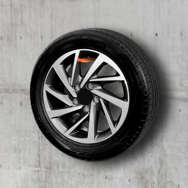 27 x 9 x 5 cm Noir Support Mural WELLGRO Lot de 4 Supports muraux pour pneus avec rev/êtement en Caoutchouc avec vis m/étalliques et Chevilles Dimensions : env