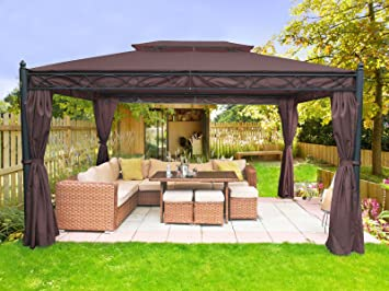 Greenbay 3x4m Coffee Metal Gazebo Pavilion Awning Canopy Sun Shade