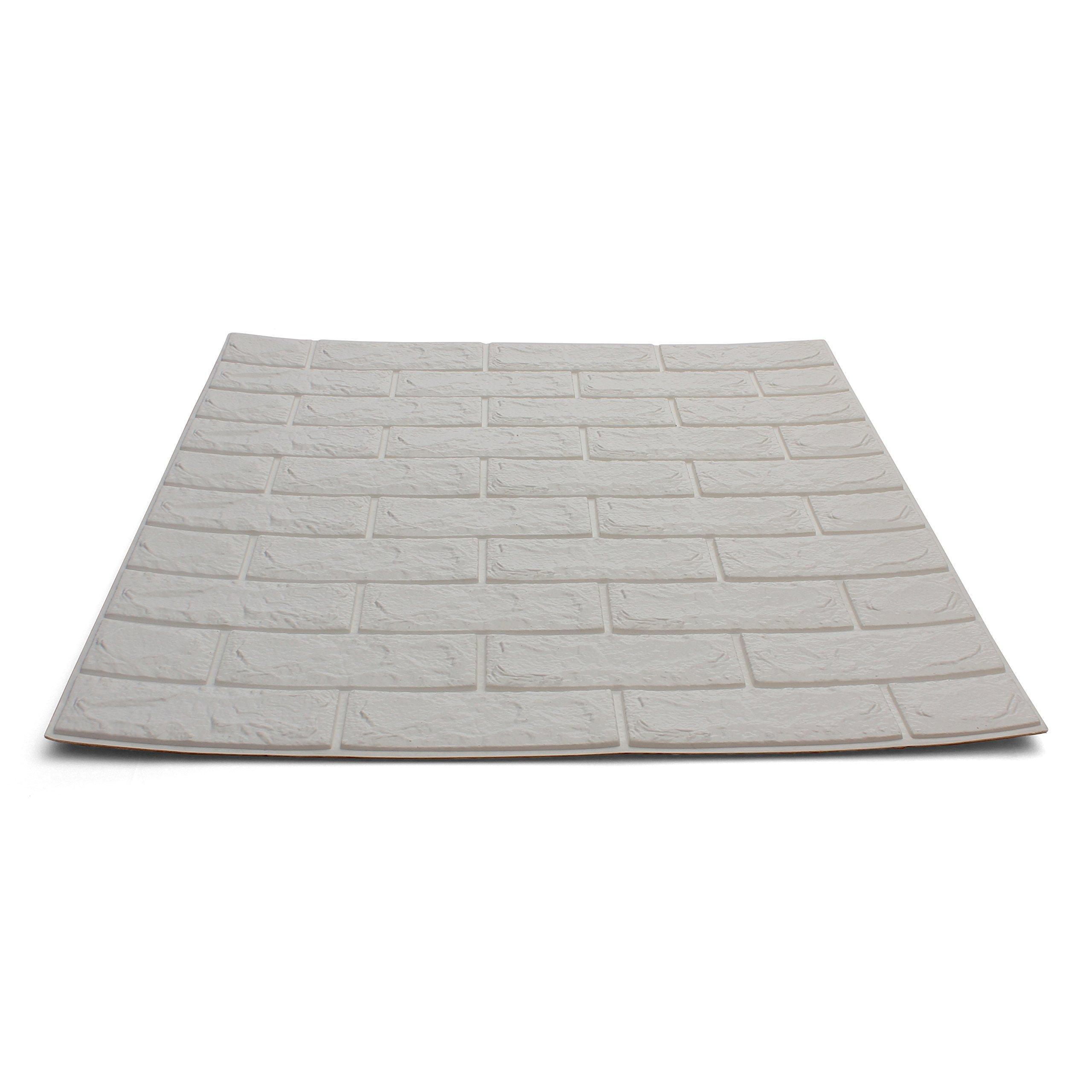 Craft Faux Brick Wall Panels - Peel and Stick Foam Brick - 3D Wall Panels for Fake Brick Wall - Self Adhesive Brick Wall Panels - 3D Brick Wallpaper (20 Pack, White)