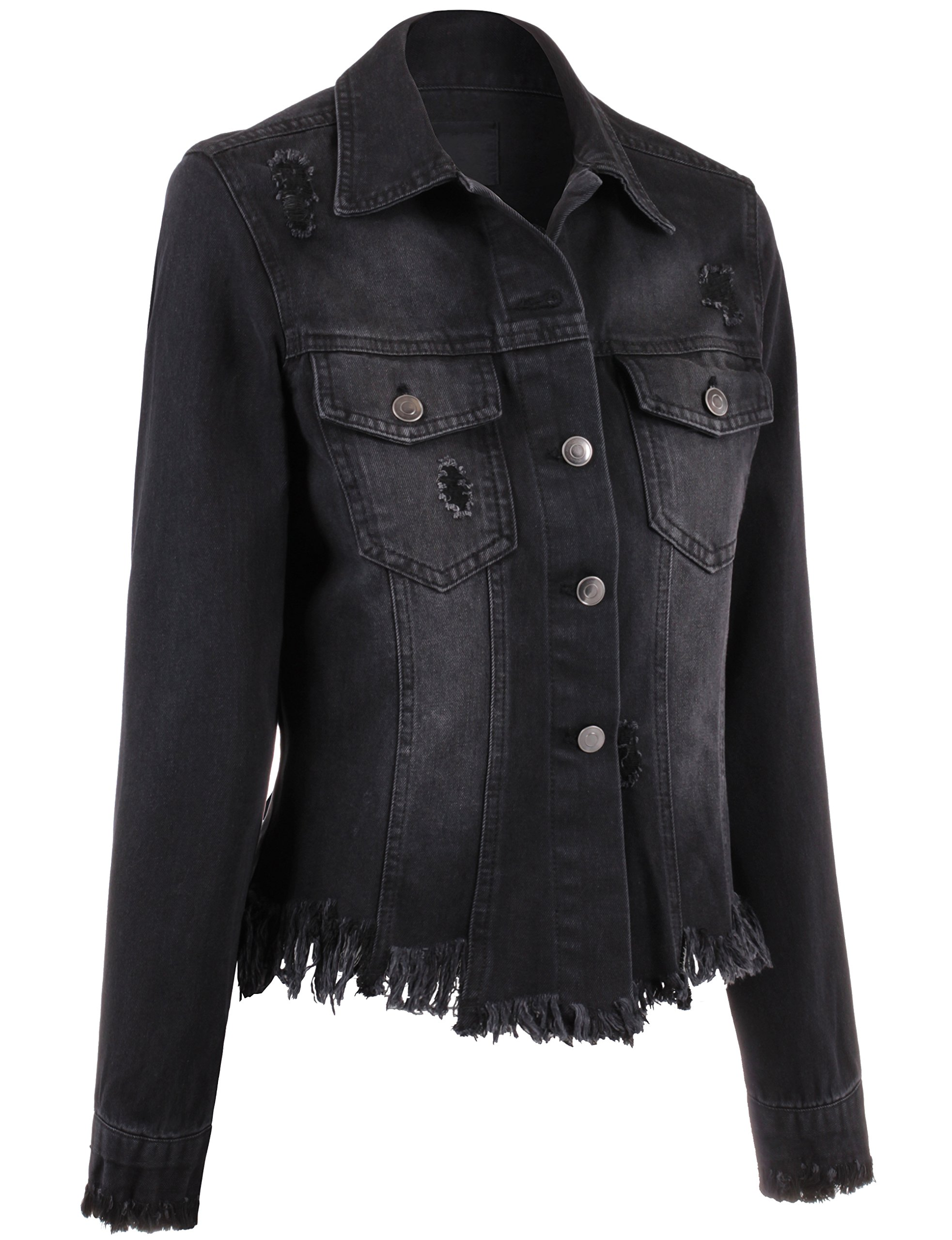 BEKTOME Womens Distressed Vintage Denim Jacket With Embroidery On Back-L-Black