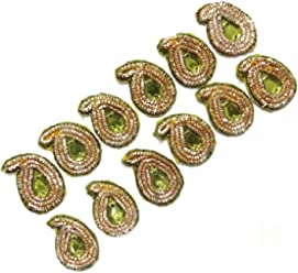 Paisley Shape Pink Royal Beaded Appliques Decorative Sewing Dress Patch 1 Pair