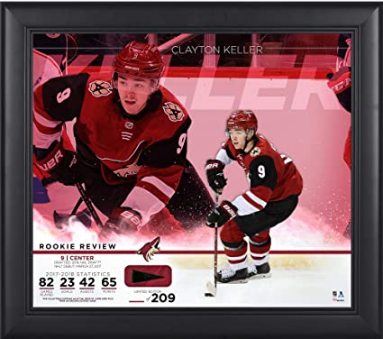 """bd02632e948 Clayton Keller Arizona Coyotes Framed 15"""" x 17"""" Rookie Review  Collage with Piece of"""