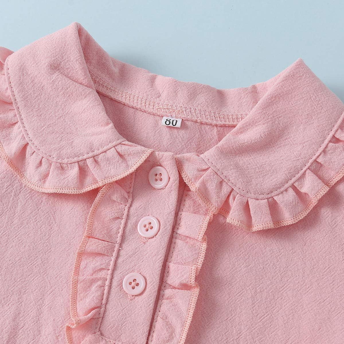 KUKEONON Infant Girls Long Sleeve Cotton Shirt with Cute flouncey Sleeve and Collar Design