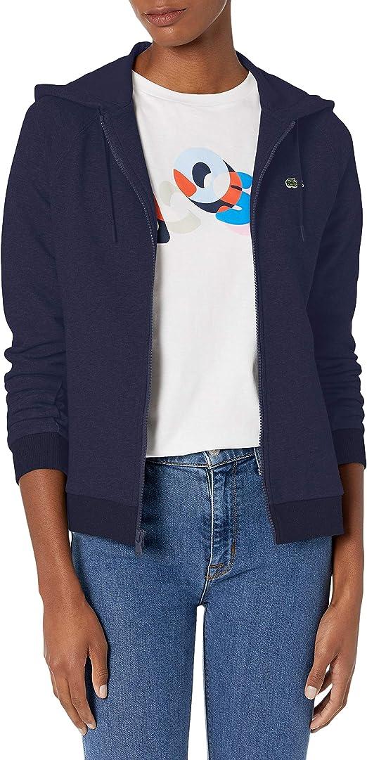 Lacoste Womens Sport Long Sleeve Hooded Fleece Pocket Sweatshirt Sf1550 Pullover Sweater