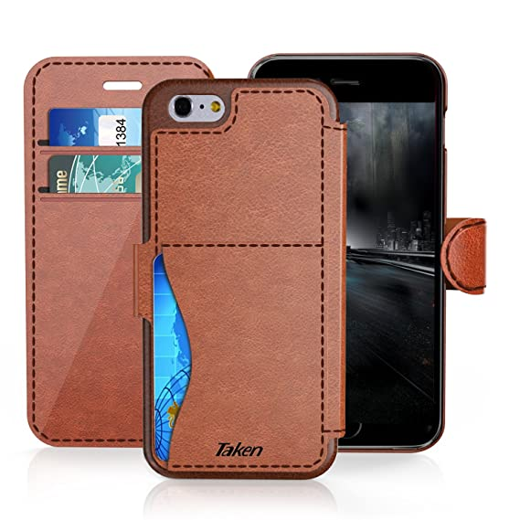 competitive price ed5a8 a3bb7 iPhone 8 / iPhone 7 Leather Wallet Case with Cards Slot and Metal Magnetic,  Slim Fit and Heavy Duty, TAKEN Plastic Flip Case/Cover with Rubber Edge, ...