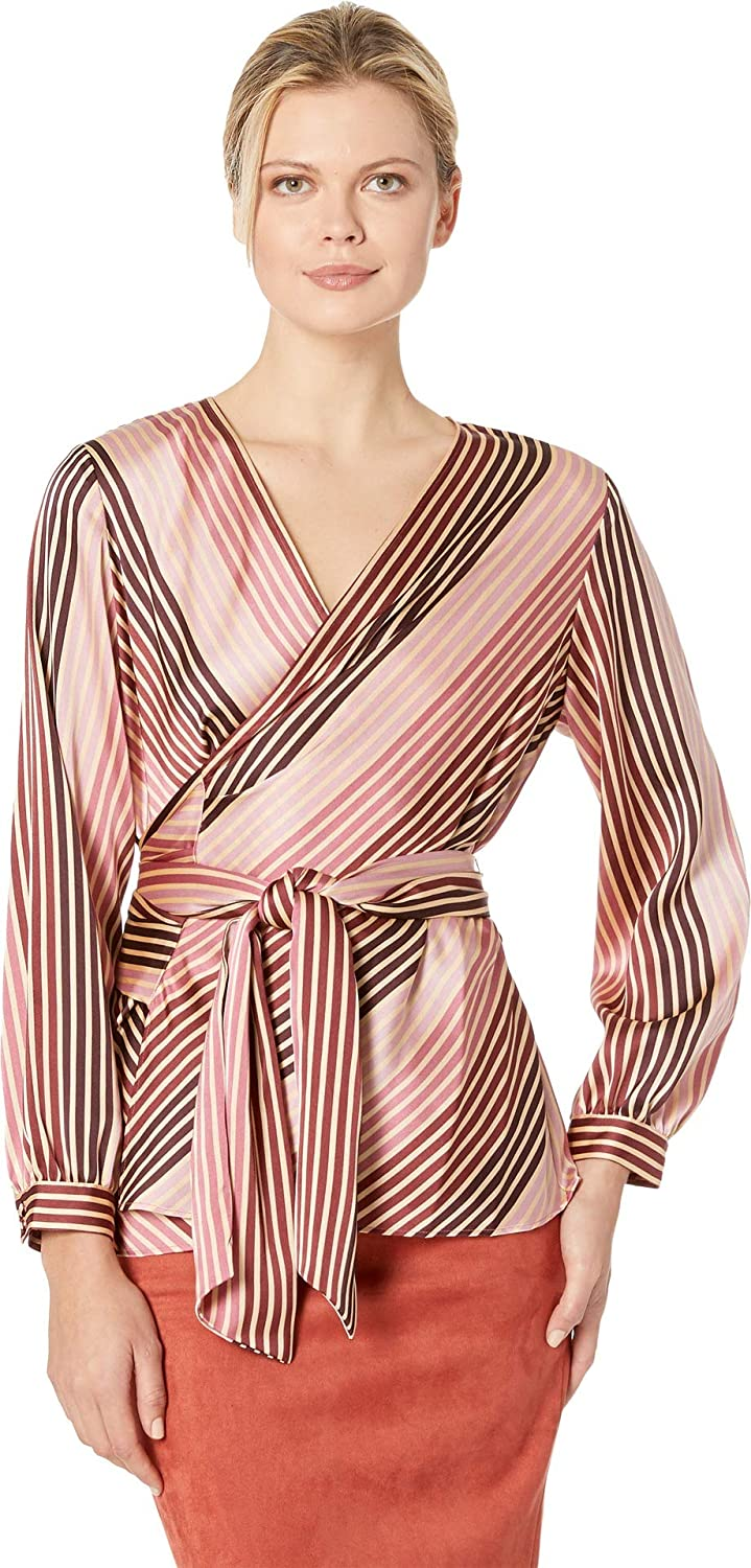 4c744cb3461e1 Vince Camuto Women s Long Sleeve Stripe Soiree Belted Wrap Blouse at Amazon  Women s Clothing store
