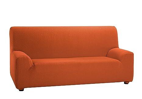 TEXTURAS VIP- Funda de sofá Elástica LOW COST (Varios tamaños disponibles)  (1_Plaza_80_110_cms, Naranja)
