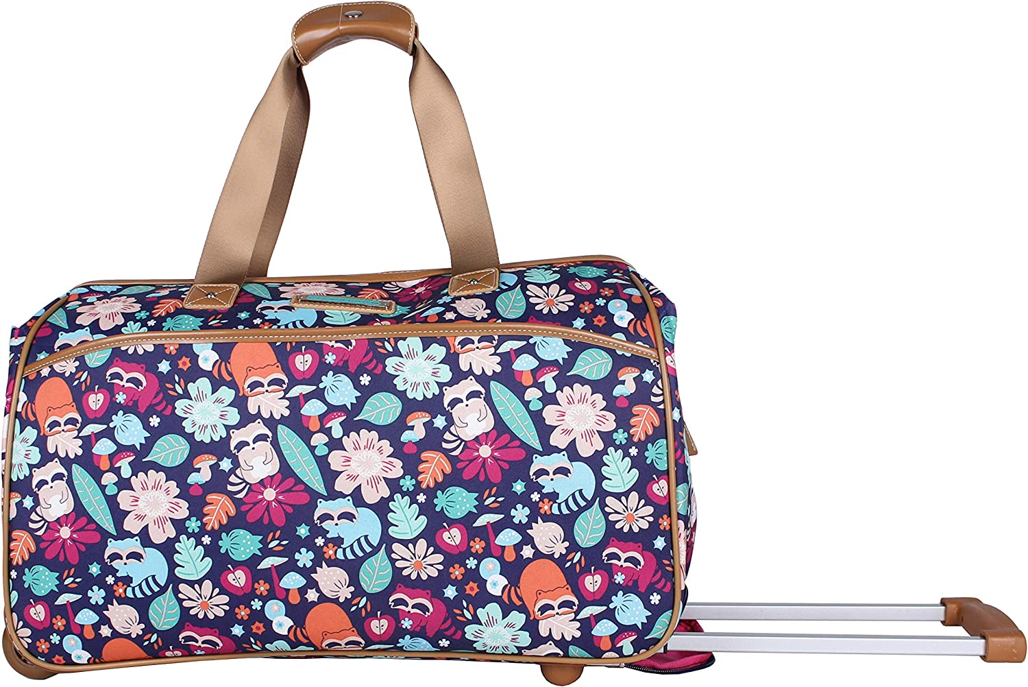 Lily Bloom Luggage Designer Pattern Suitcase Wheeled Duffel Carry On Bag (22in, Raccoon Harvest Black)