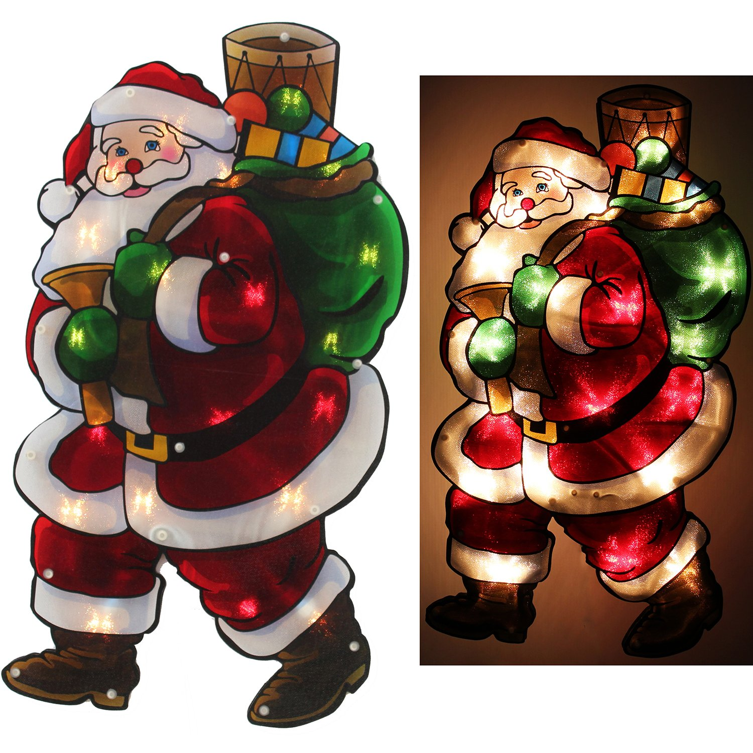 Christmas Window Lights Santa Double Sided Silhouette Indoor Display - Size  45cm