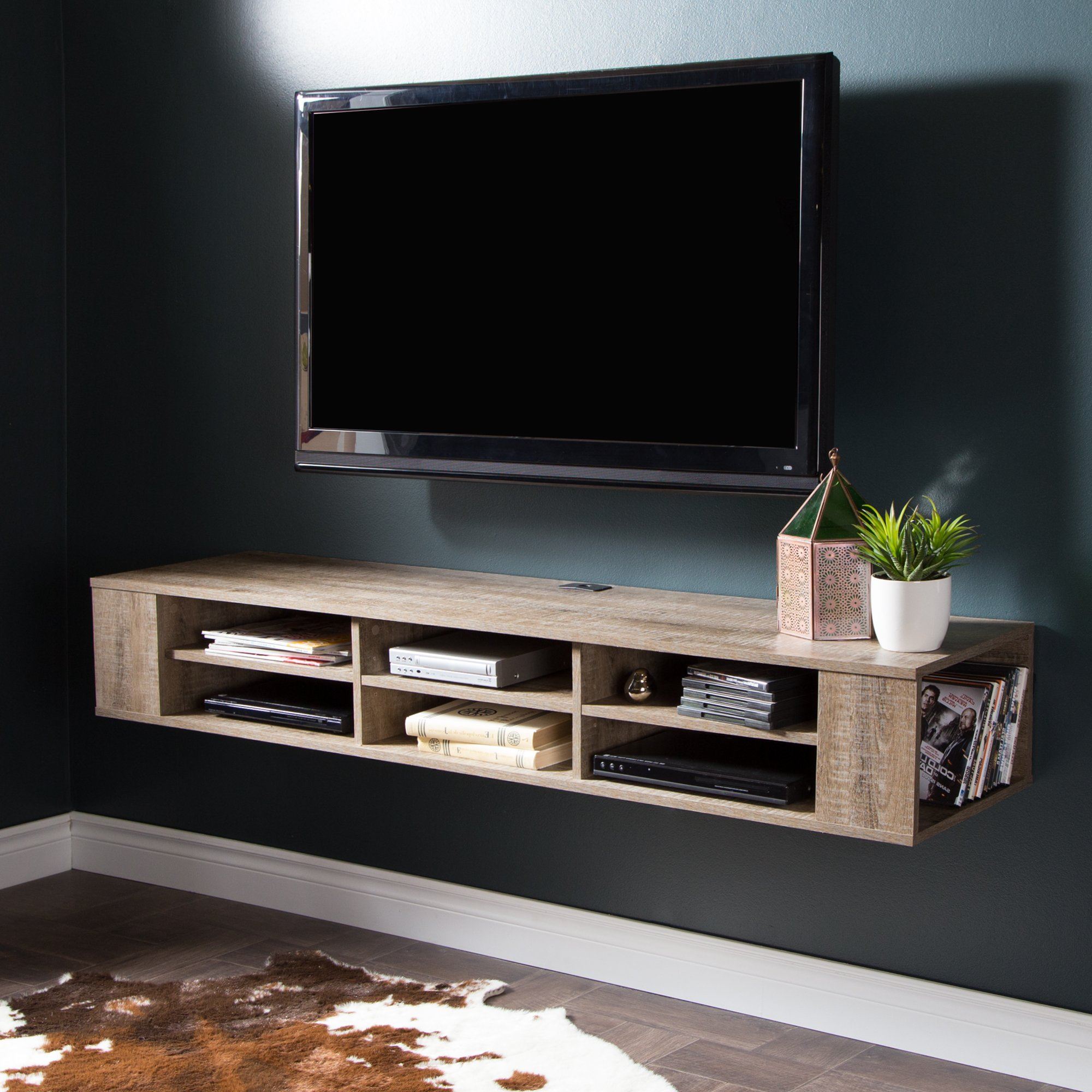 South Shore City Life Wall Mounted Media Console, 66'', Weathered Oak