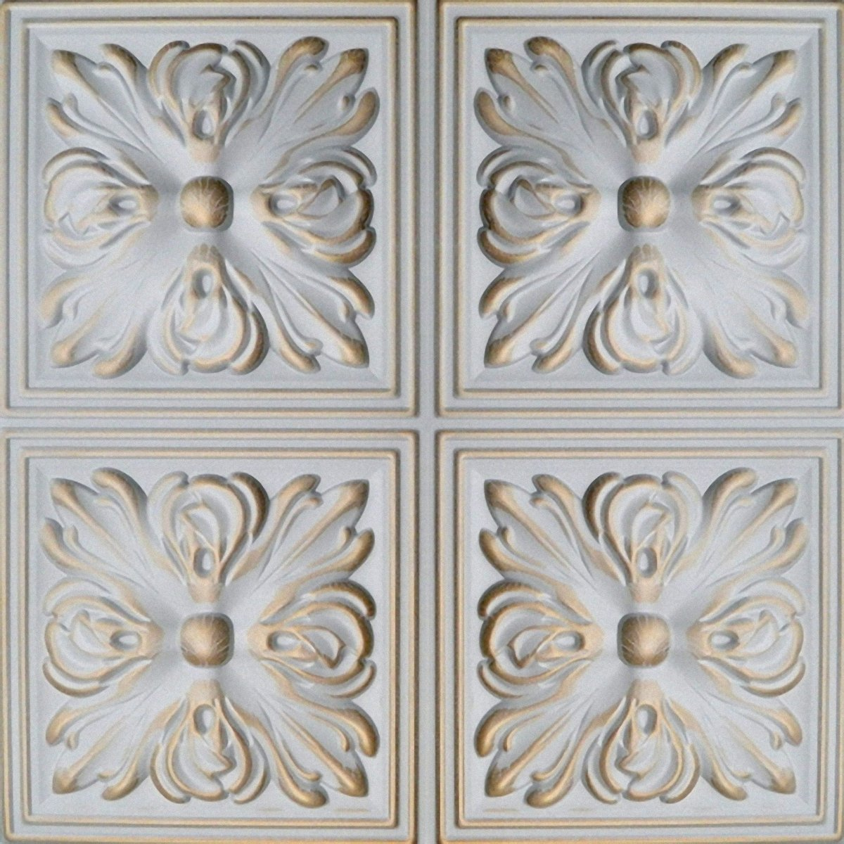 Hand Painted Polystyrene Foam Ceiling Tiles Retro 05 White - Gold (Pack 40 pcs / 10 sqm) Euro